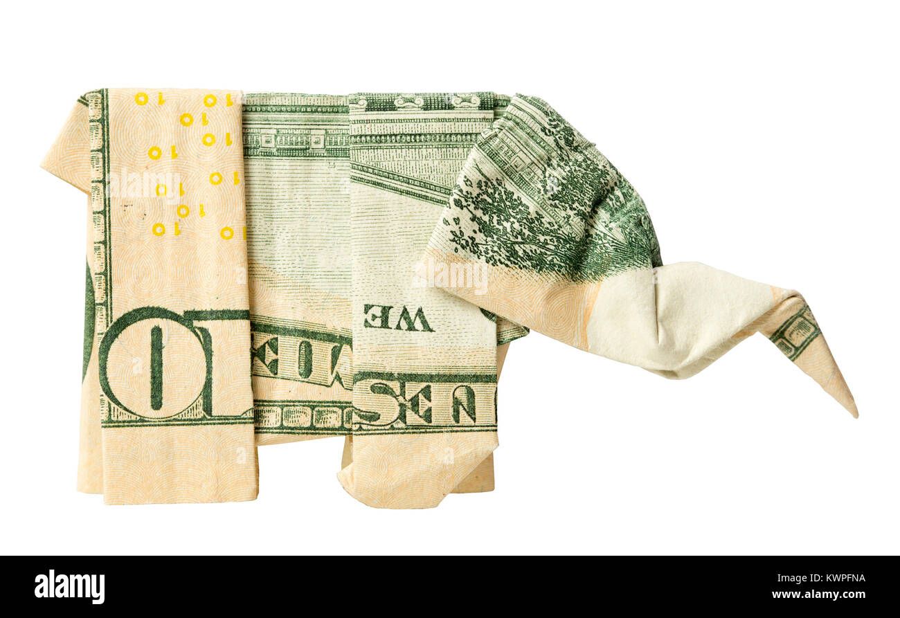 An Origami Elephant Folded From A Us Ten Dollar Bill Stock Photo