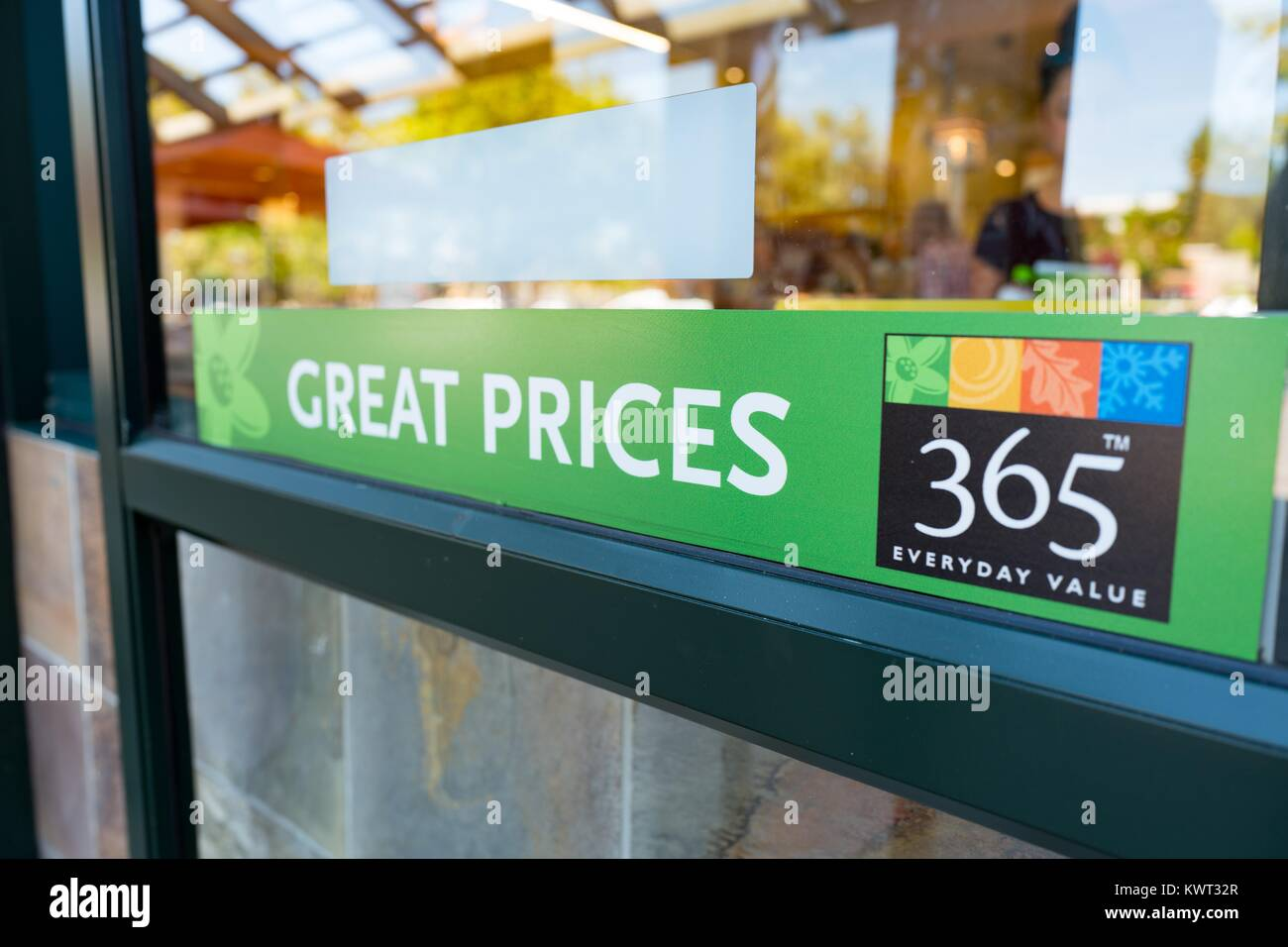 Signage At The Whole Foods Market Store In San Ramon California Reading Great Prices 365 Everyday Value Advertising Of Markets