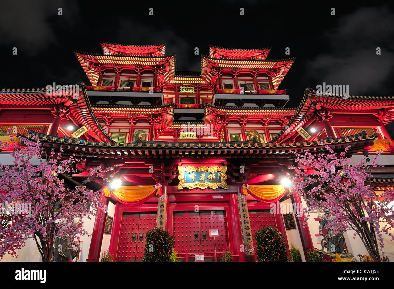 Night View Of Majestic Asian Style Buddhist Temple Architecture