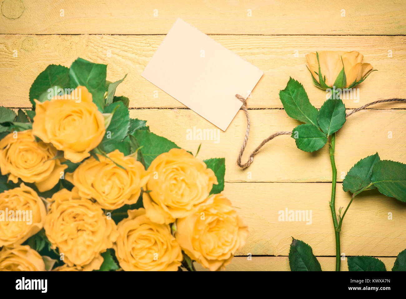 Greeting Card Idea With Roses Bouquet And A Separate Rose With A