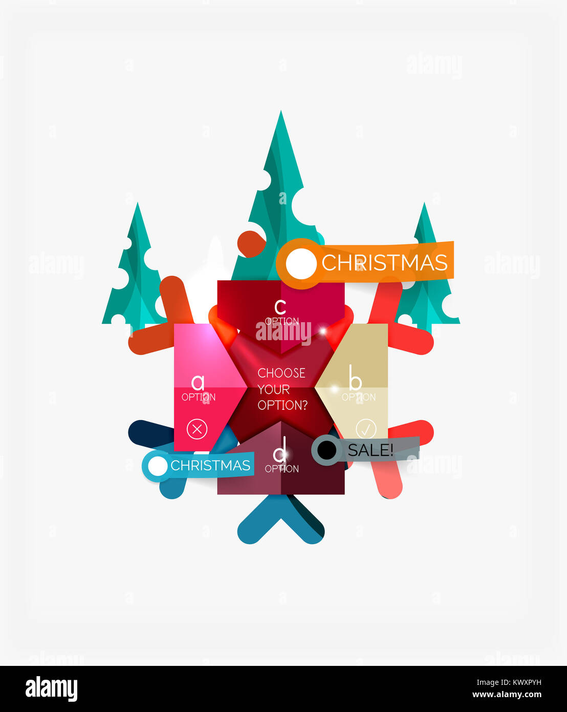 paper new year and christmas labels and stickers modern info banner