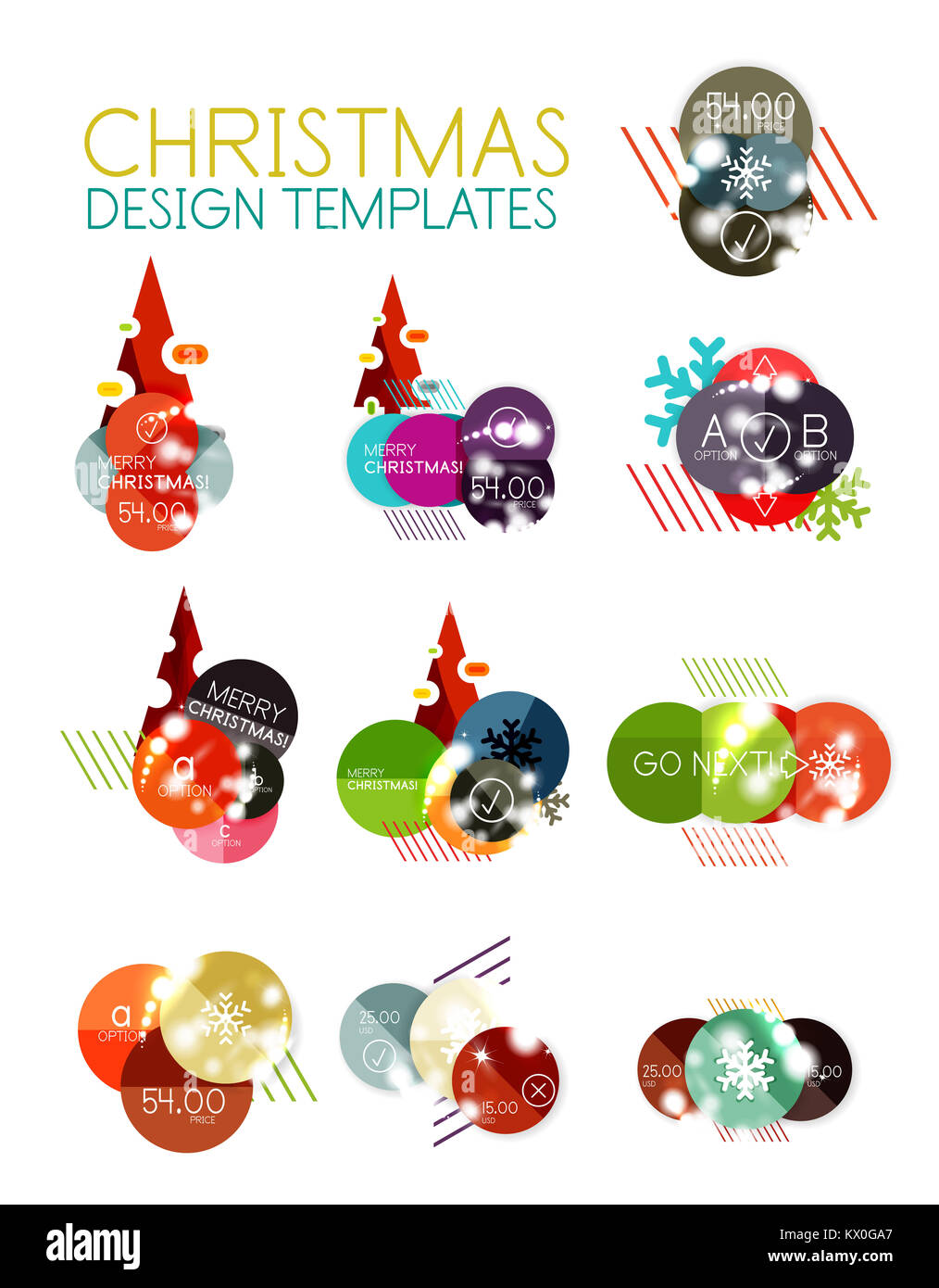 christmas label or price tag stickers with light effects stock photo