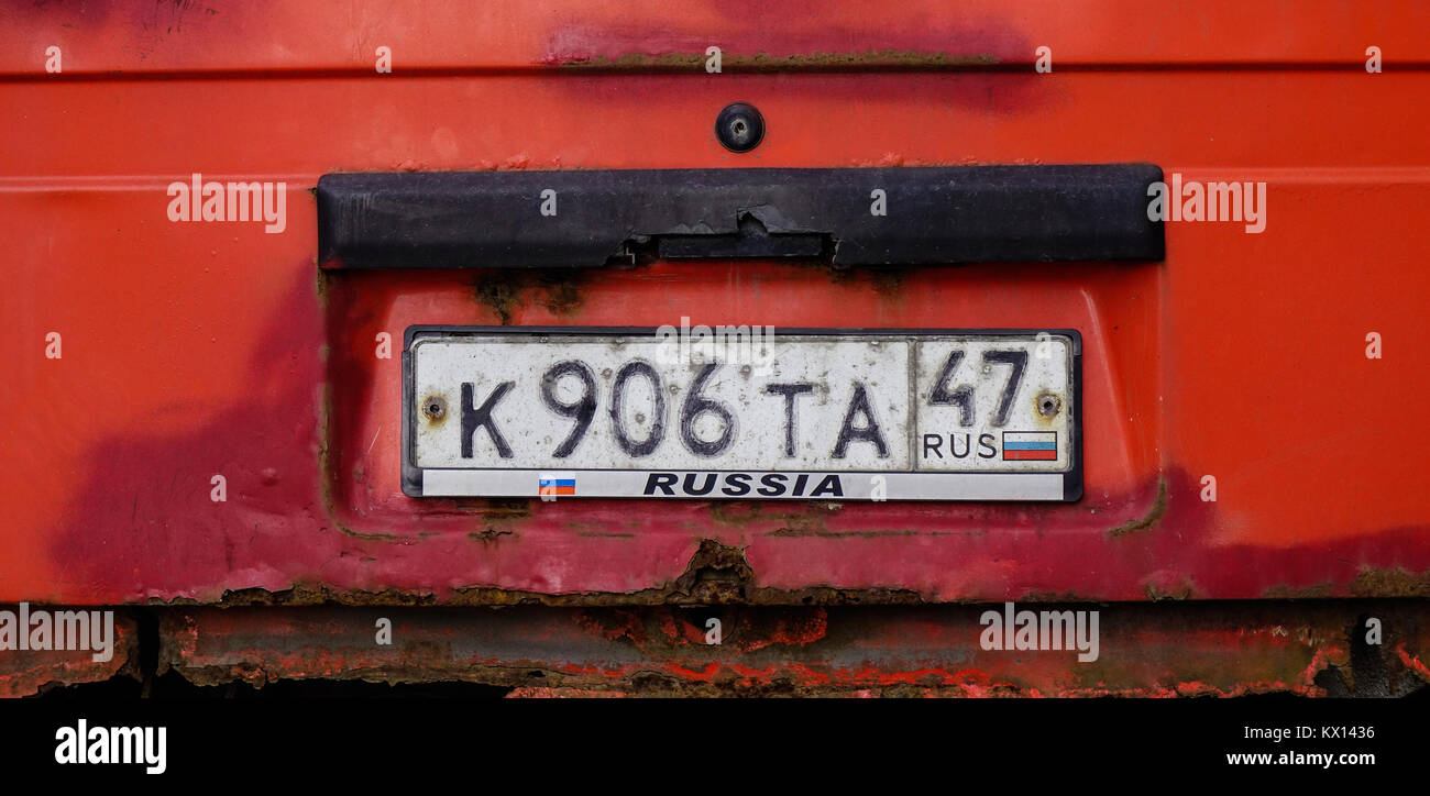 Vyborg, Russia - Oct 6, 2016. Vehicle registration plate of an old ...