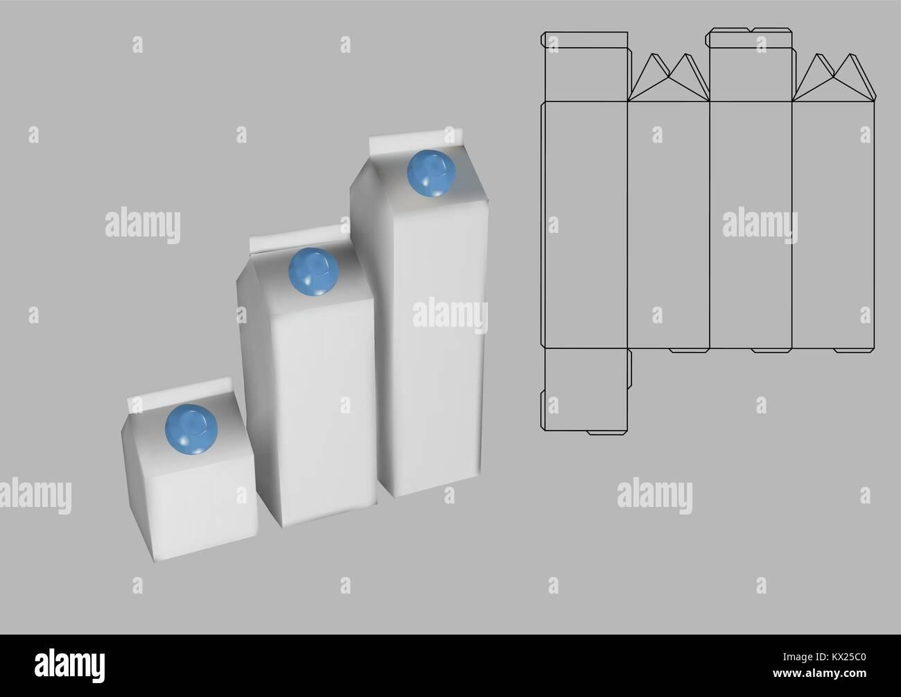 Milk Carton Box Template On Grey Background