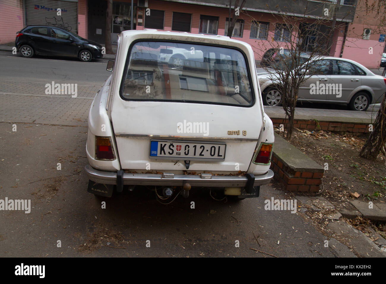 Old white estate Citroen ami 8 car parked on a street in Belgrade ...