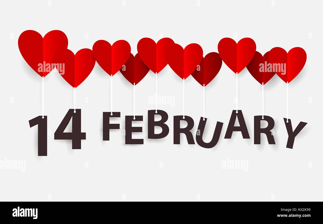 14 February Hanging With Red Heart Balloons Happy Valentines Day
