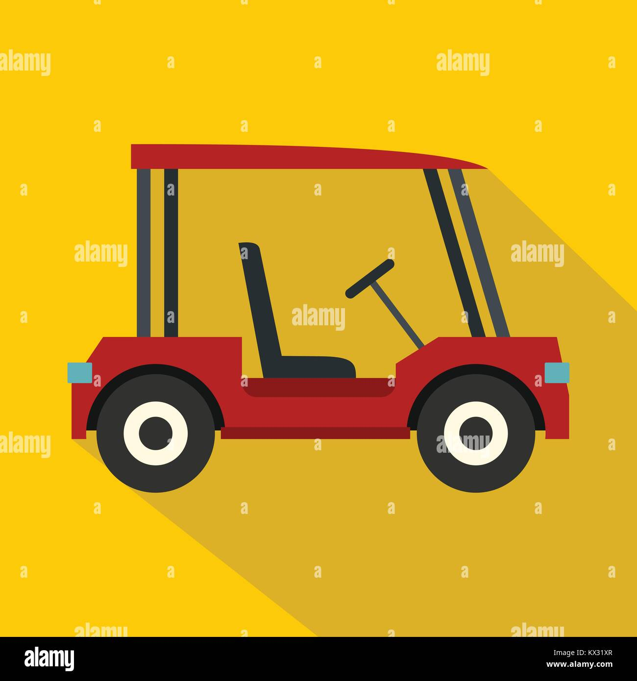 Red golf cart icon, flat style Stock Vector Art & Illustration ... Red Golf Cart Art on red shopping cart, red push cart, red golf card,