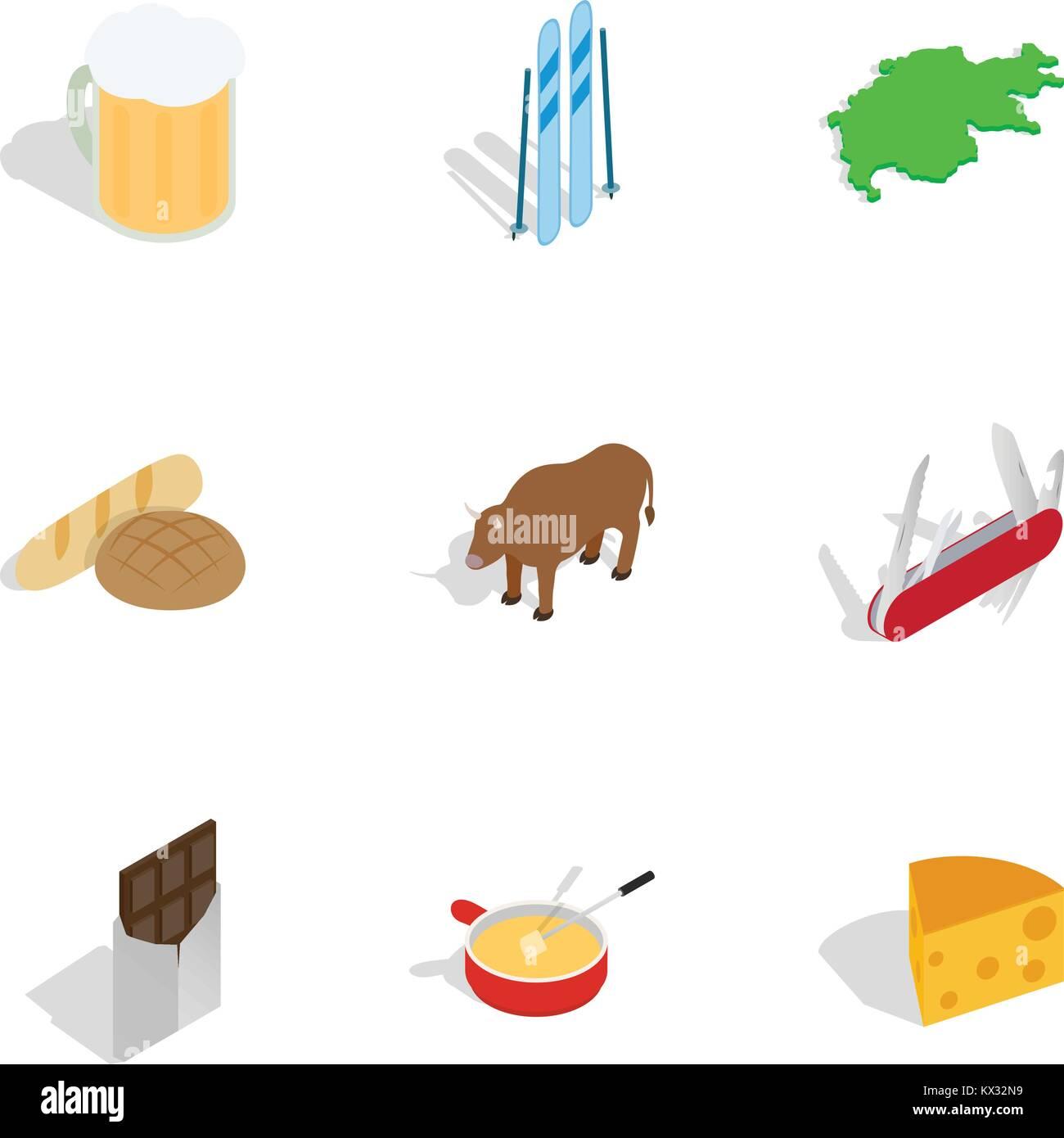 Symbols Of Switzerland Icons Set Stock Vector Art Illustration