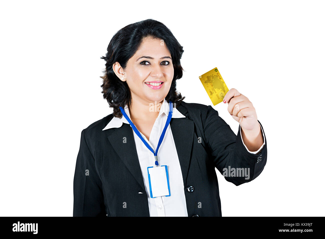 Indian business salesperson showing shopping debit card stock indian business salesperson showing shopping debit card reheart Choice Image