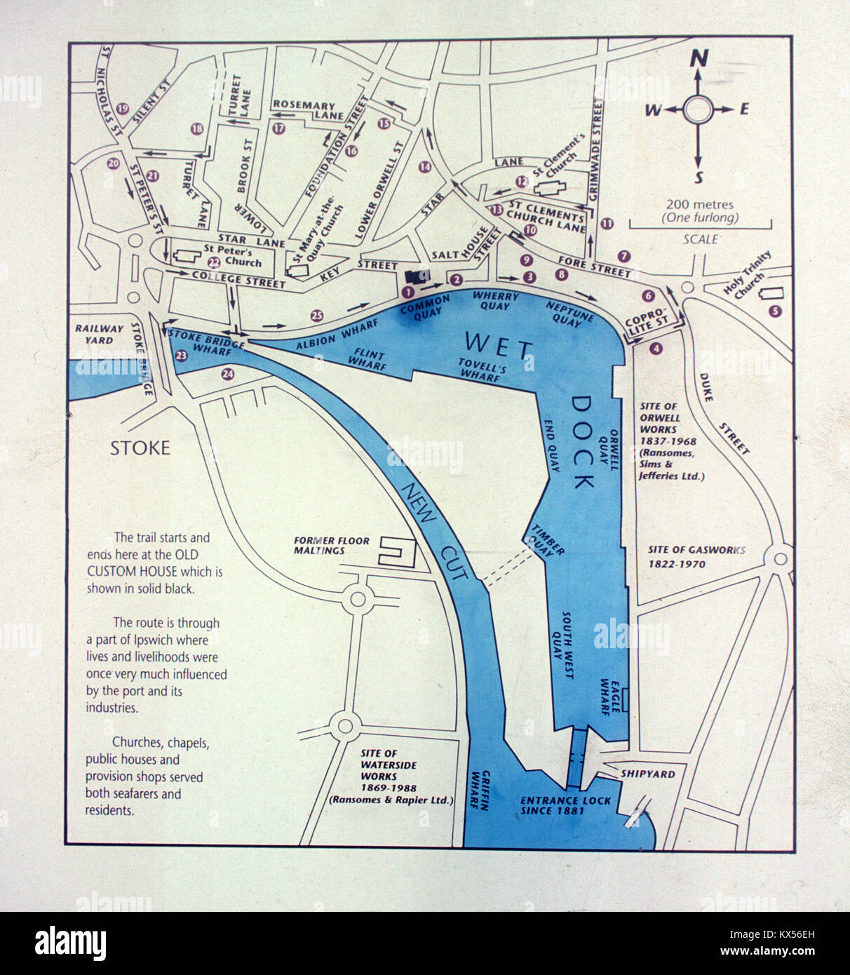 Ipswich Uk Map.Map Of Wet Dock Showing Historic Sites Main Industries And Stock