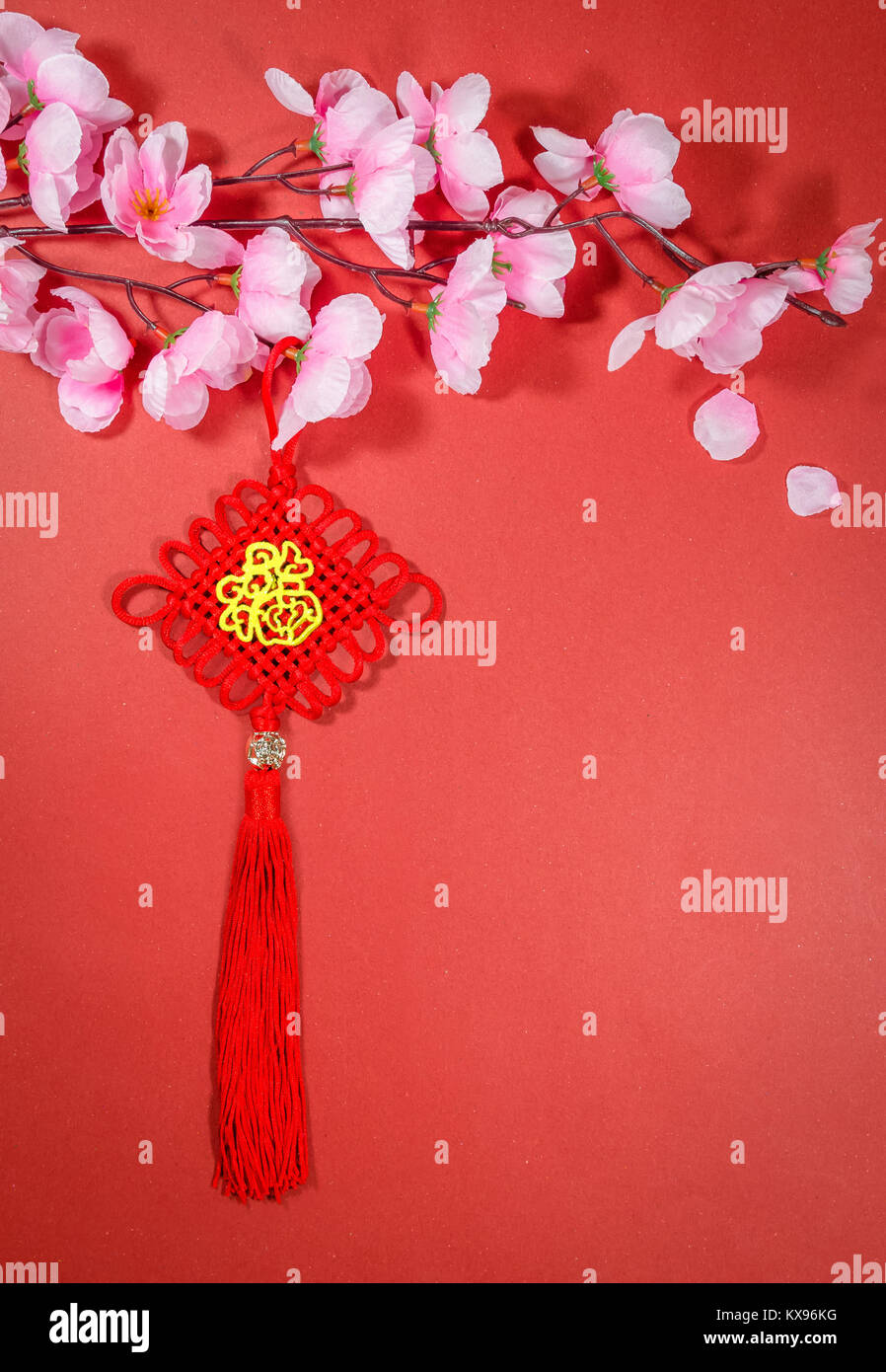 Chinese new year decorations on red background english translation chinese new year decorations on red background english translation for foreign text means blessing m4hsunfo