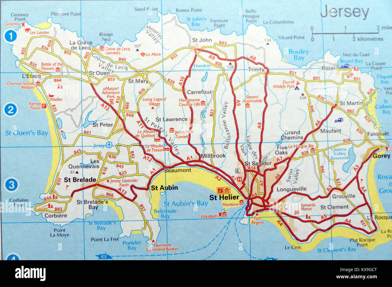 Road Map of Jersey Stock Photo: 171084840 - Alamy