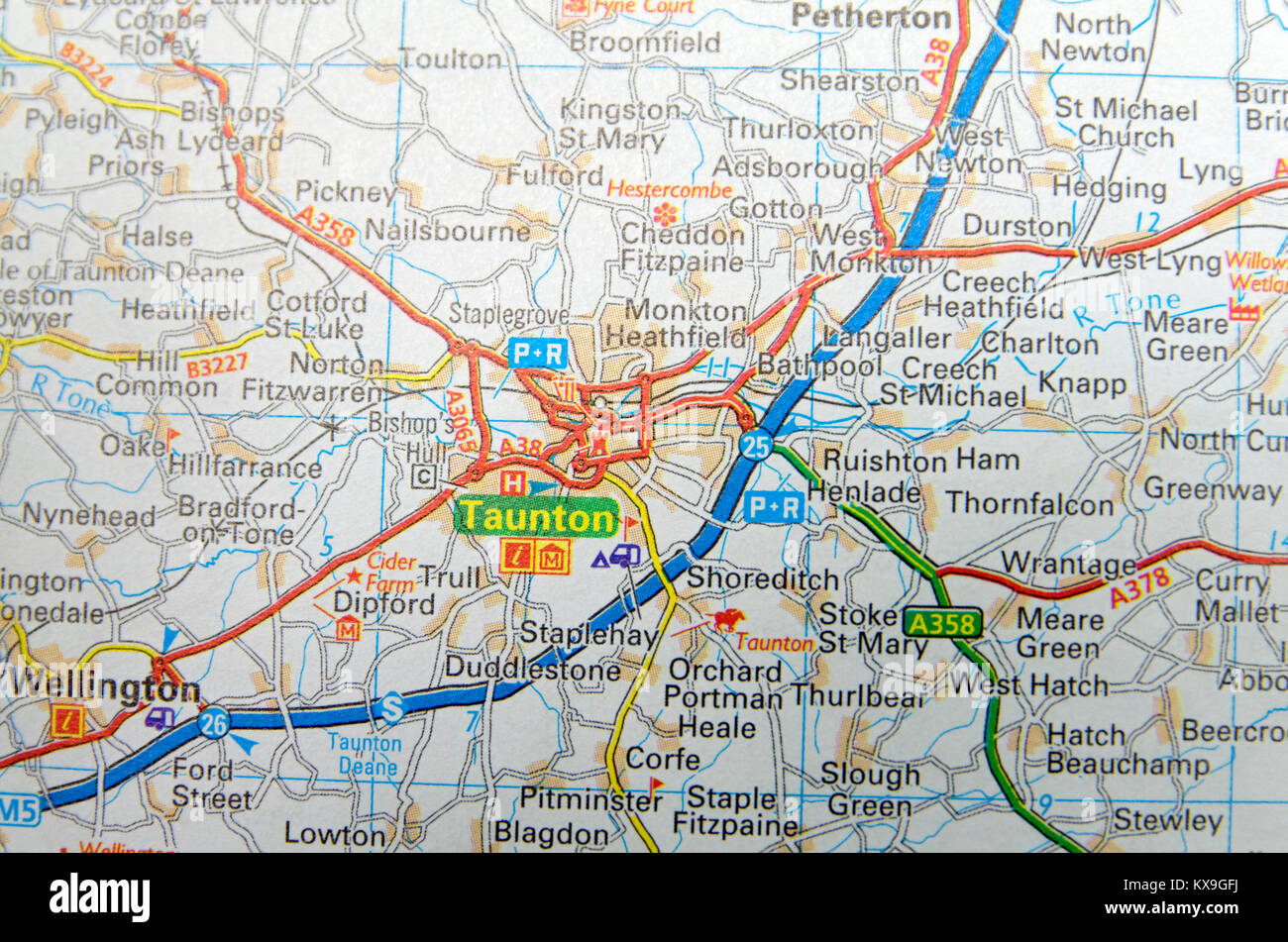 Road Map of Taunton Somerset England Stock Photo Royalty Free