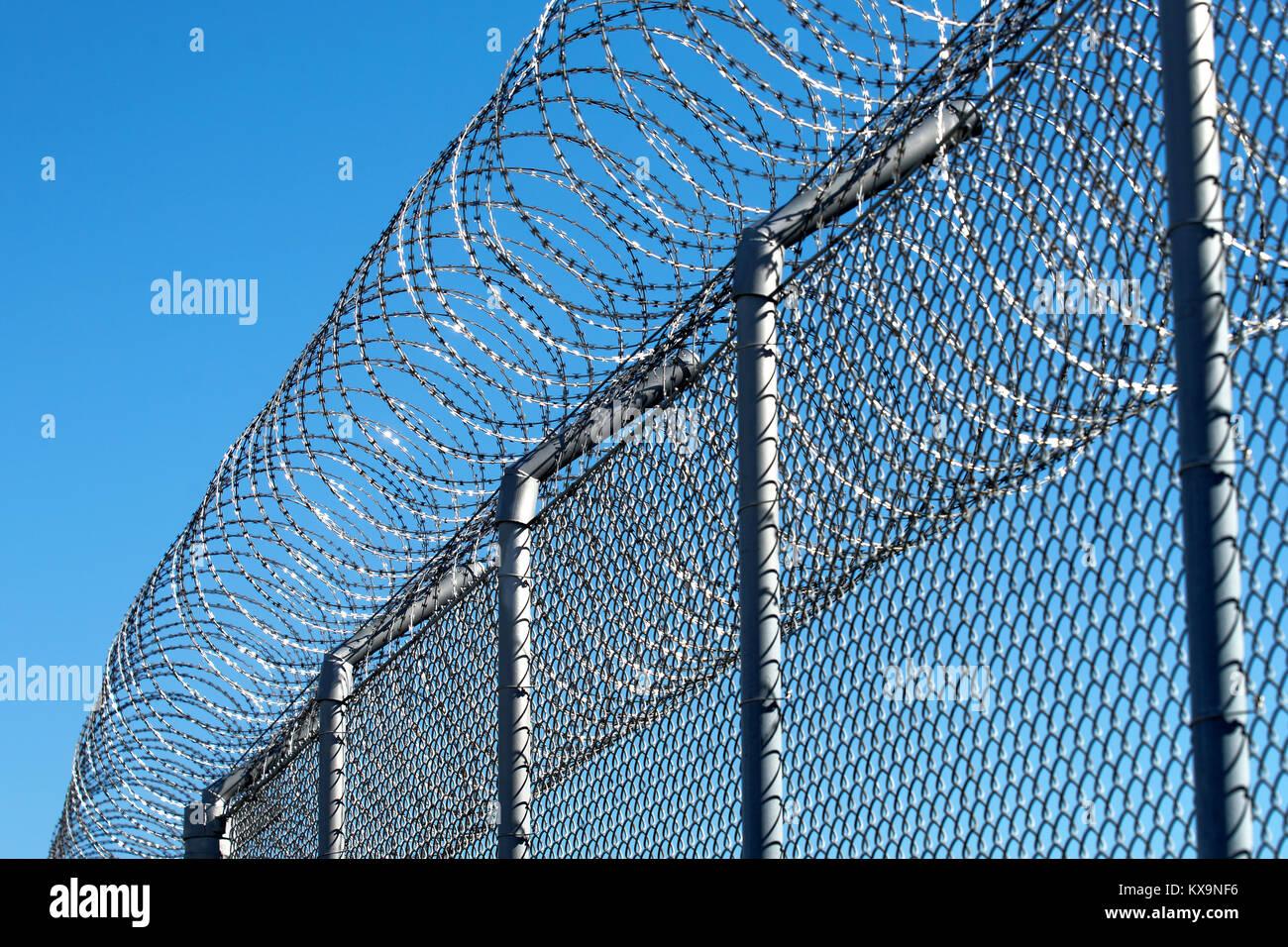Prison razor wire fence.Credit:Mario Beauregard/Alamy Live News ...