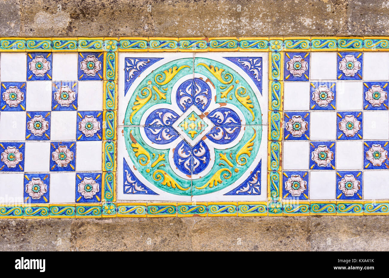 Italian ceramic pattern stock photos italian ceramic pattern colored ceramic tiles in caltagirone sicily italy stock image dailygadgetfo Images