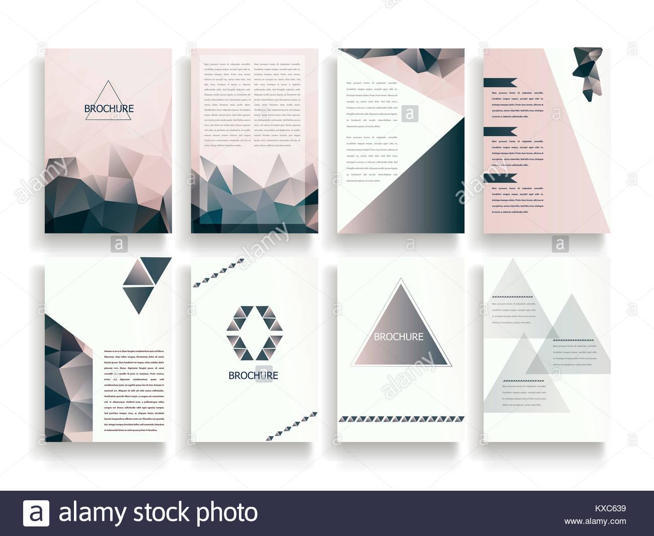 Elegant Brochure Template Design Set With Translucent Polygon - Elegant brochure templates