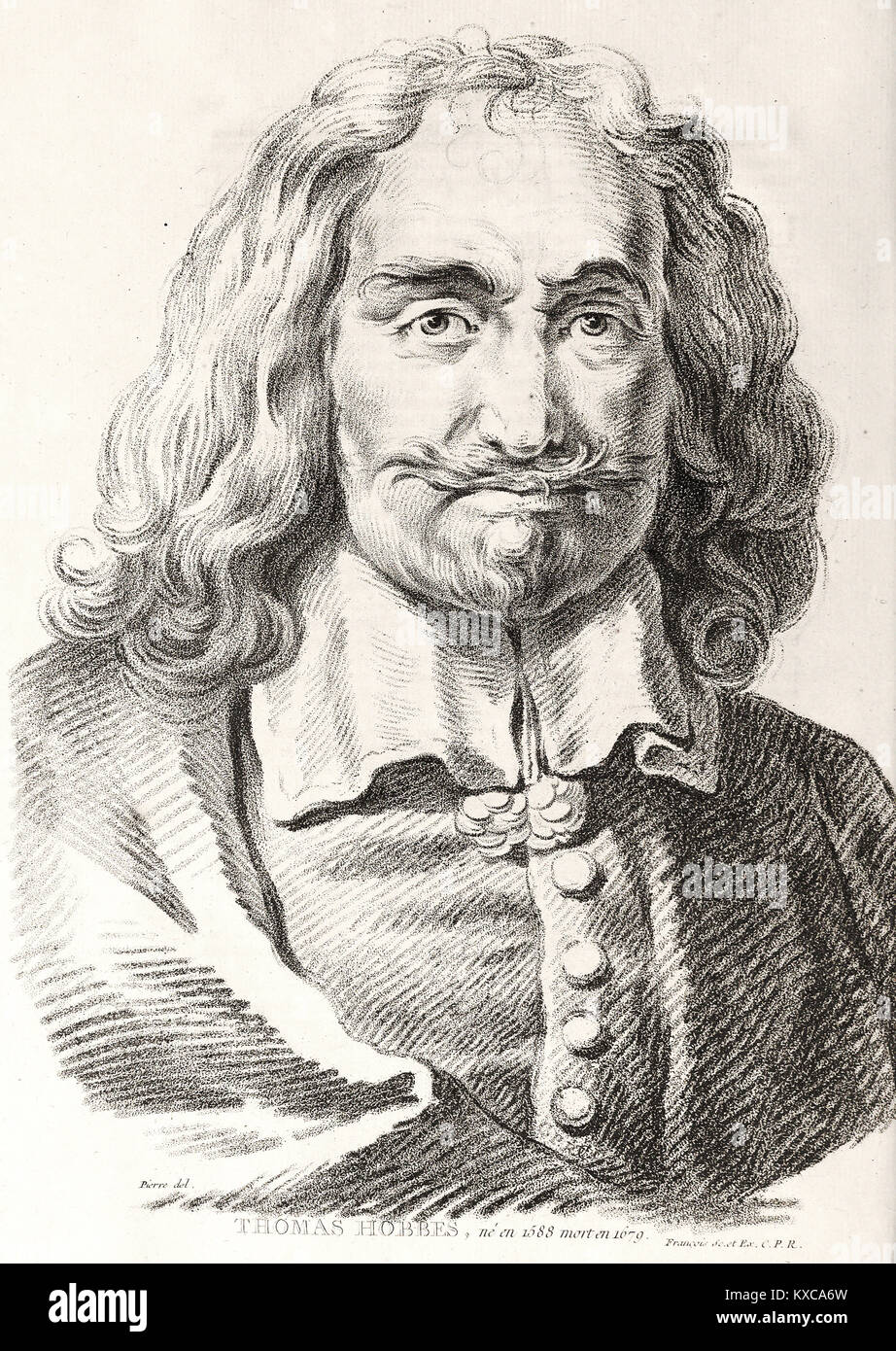 portrait of thomas hobbes philosopher french engraving 18th