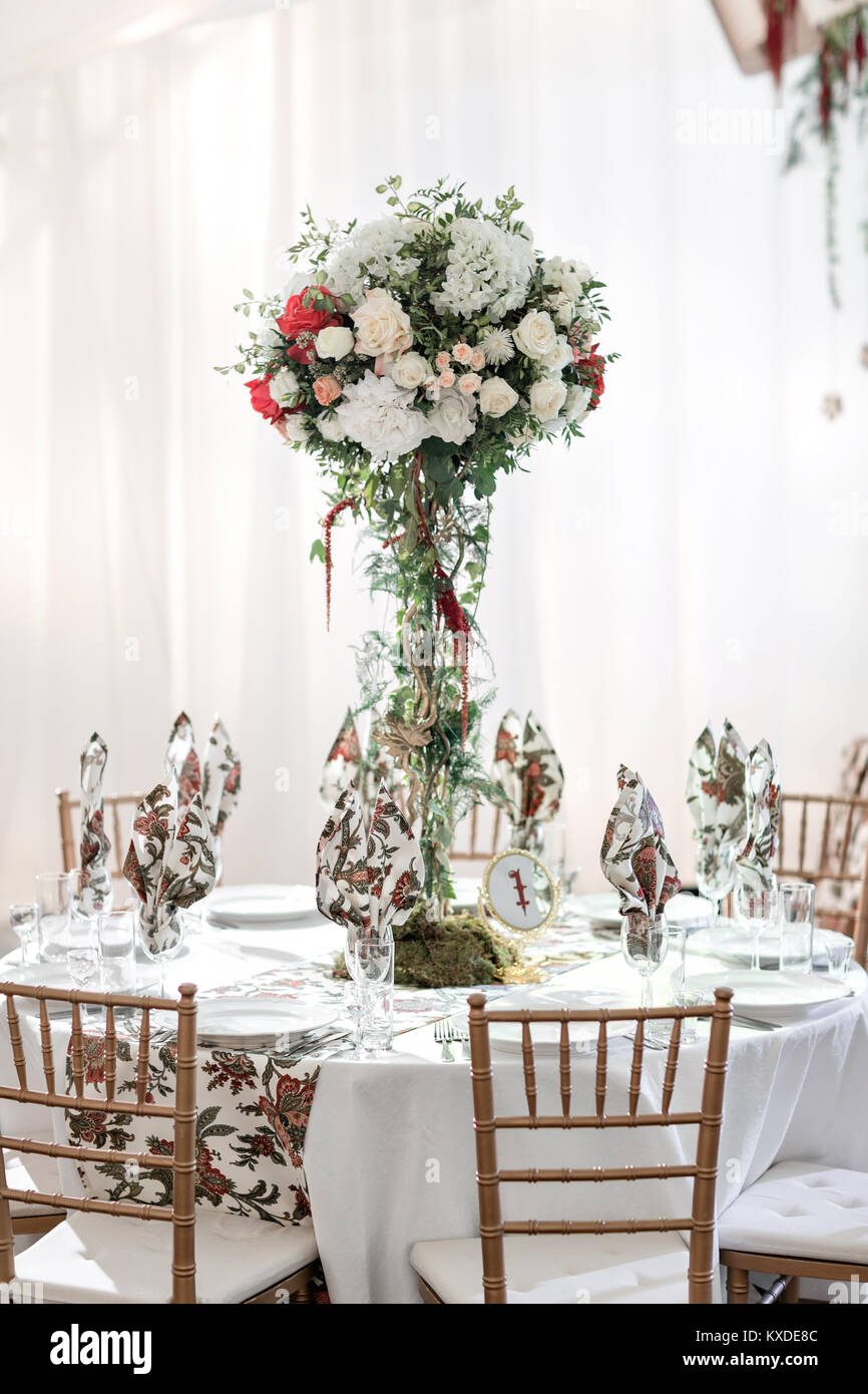 Interior Of A Wedding Tent Decoration Ready For Guests Served Round
