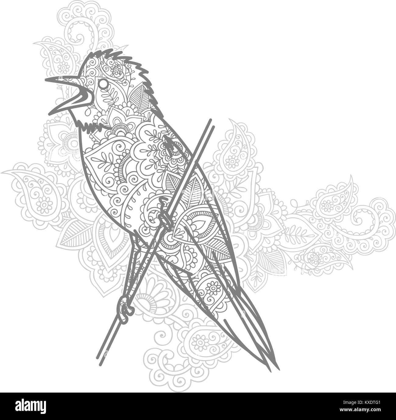 hand drawn doodle bird paisley adult stress release coloring page ...