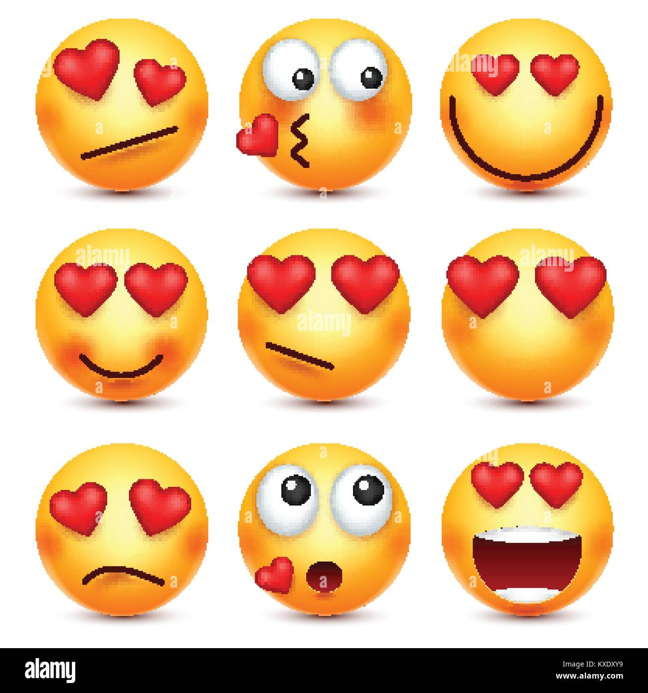 Valentines Day Smiley Emoji With Heart Love February 14 Stock