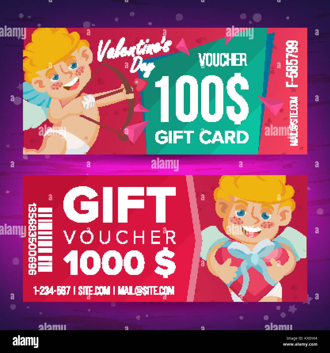 Valentine S Day Gift Voucher Vector Horizontal Coupon February 14