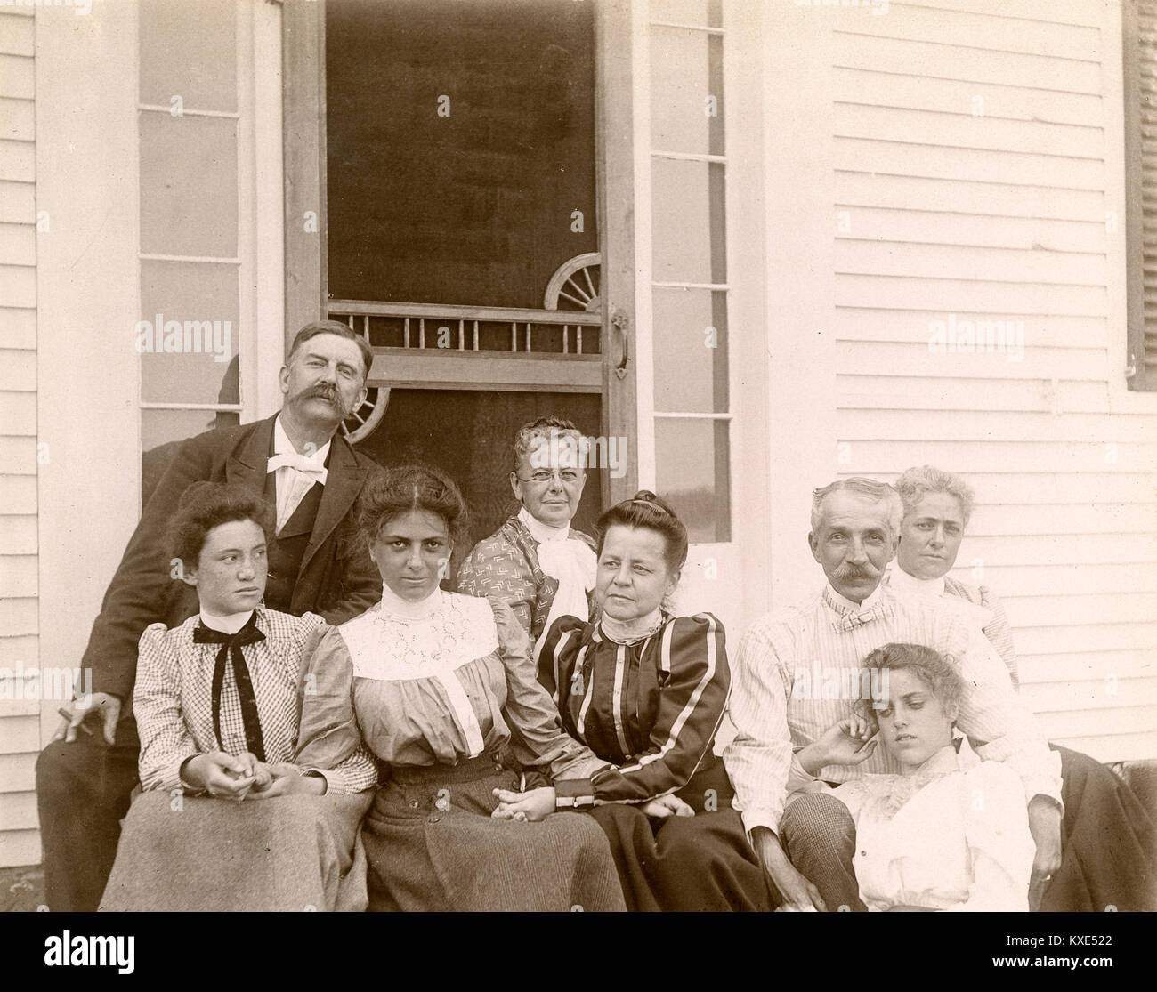 Antique Circa 1905 Photograph Family Gathered On Stoop By Screen