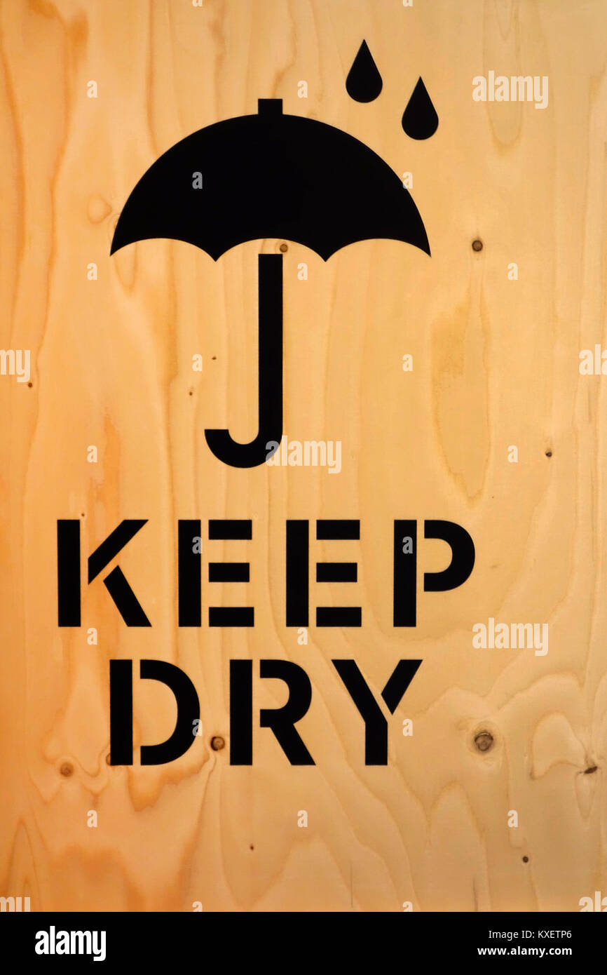 Wooden Packaging Box Crate With Keep Dry Text And Umbrella Sign