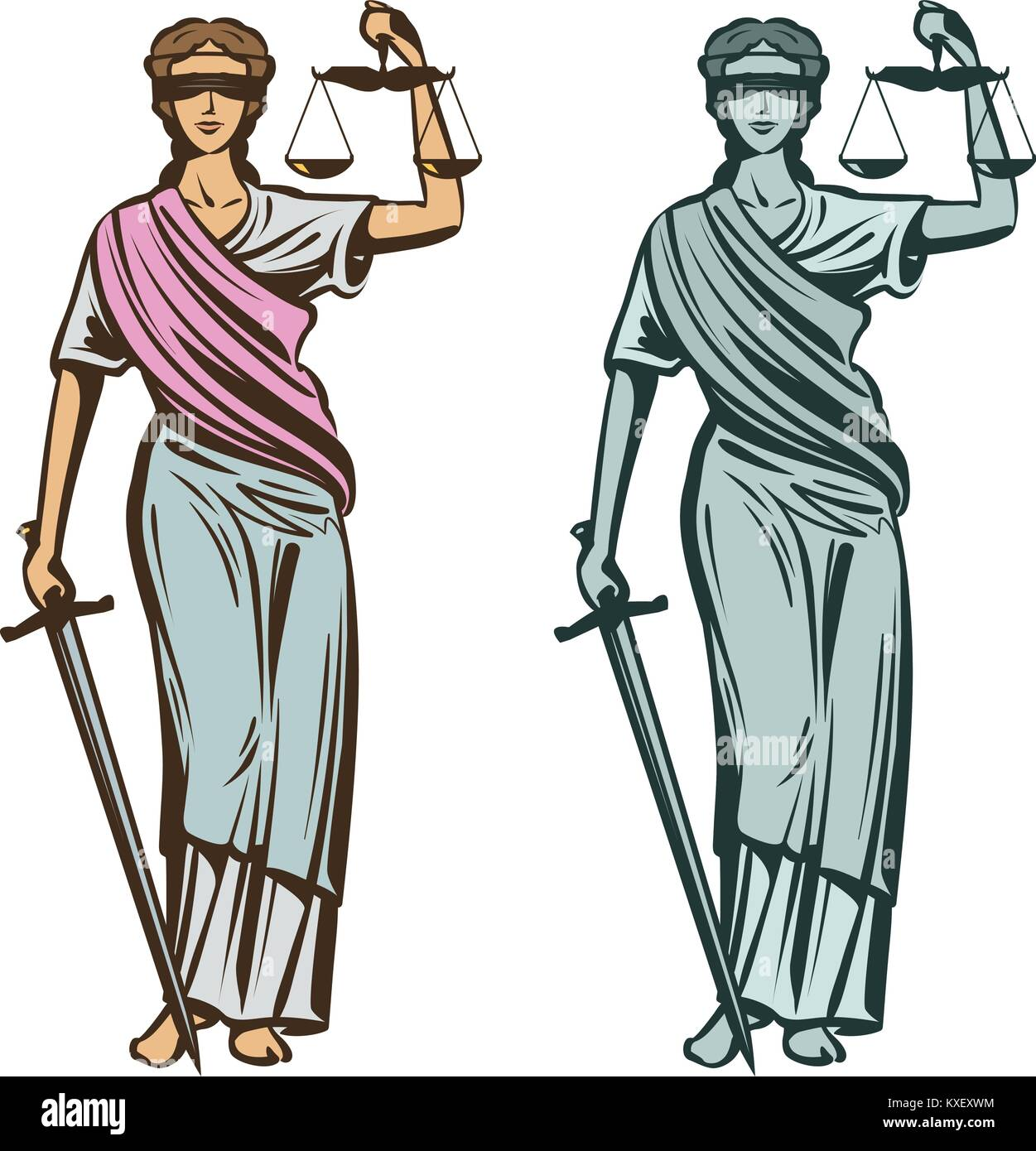 Themis statue stock photos themis statue stock images alamy lady justice with blindfold scales and sword in hands vector illustration buycottarizona