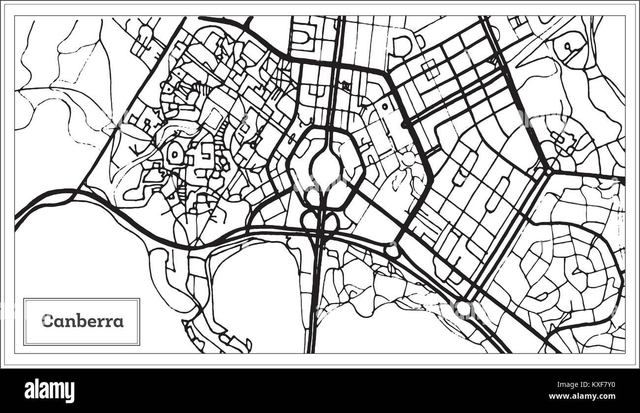 Map Canberra Australia.Canberra Australia City Map In Black And White Color Outline Map