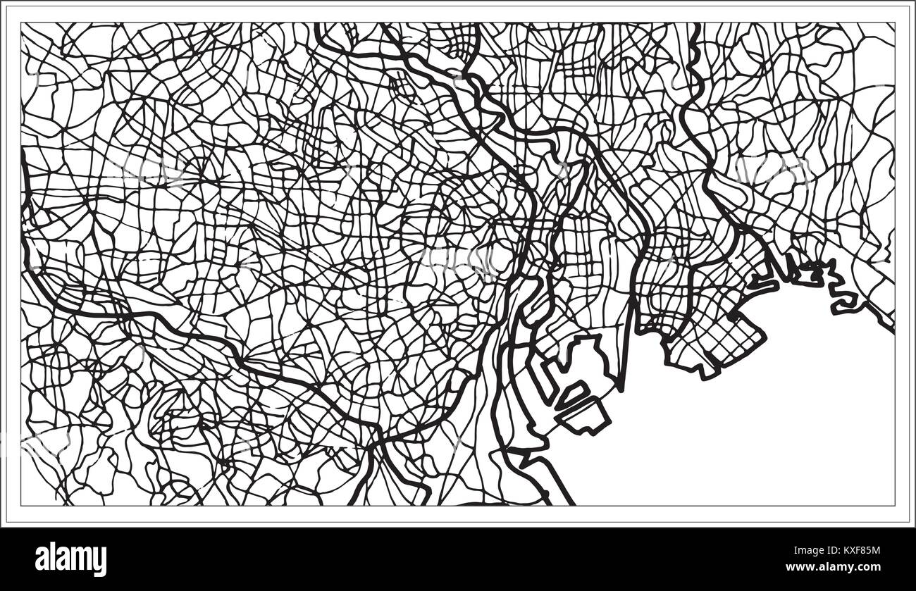 Tokyo Japan City Map in Black and White Color. Hand Drawn. Vector ...