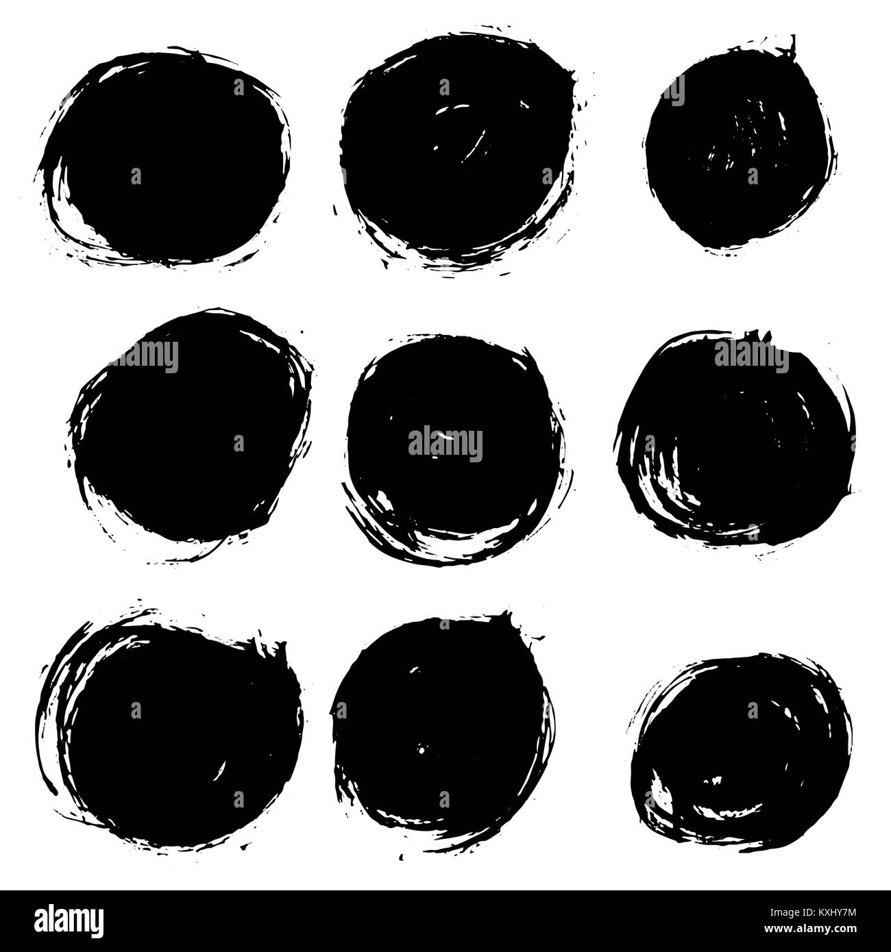 grunge ink round brush strokes freehand black brushes handdrawn