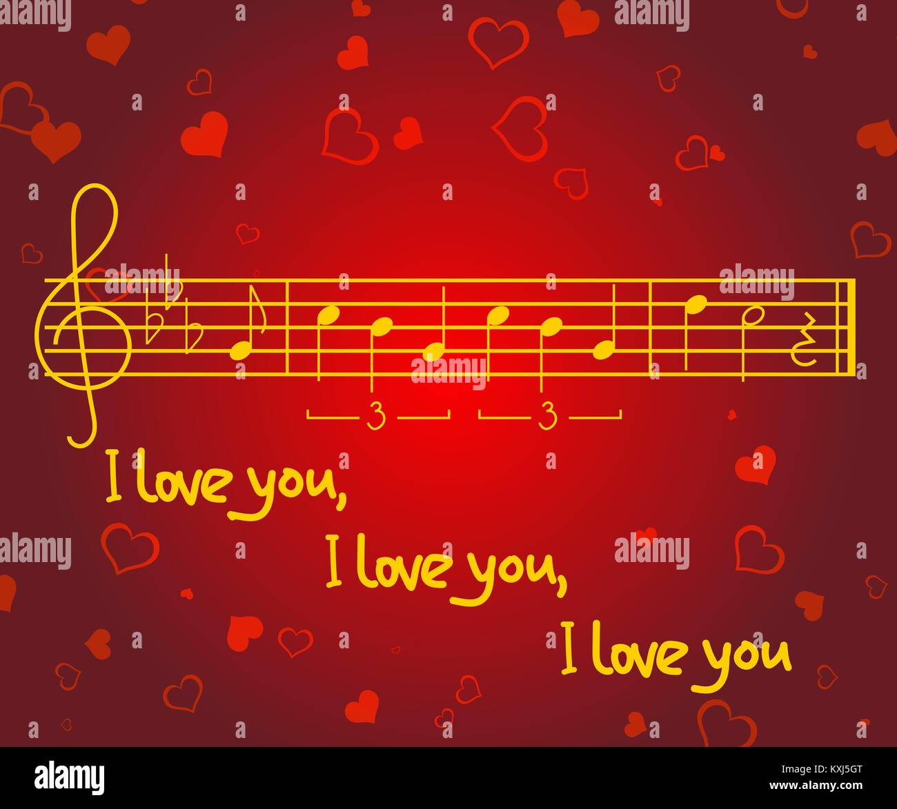 Romantic greeting card for valentines day with heart shapes music romantic greeting card for valentines day with heart shapes music notes of the song michelle and words i love you vector illustration m4hsunfo