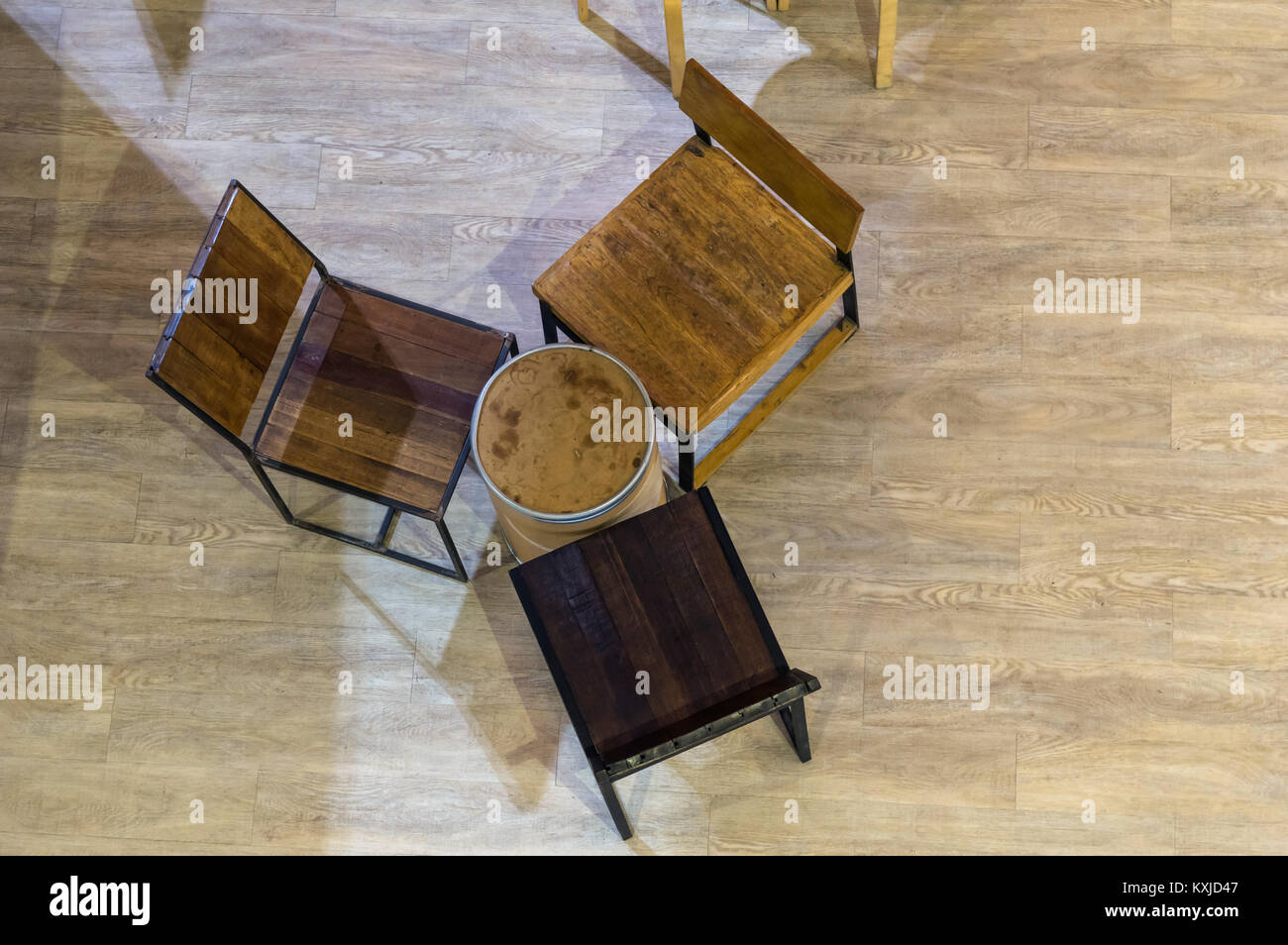 table and chairs top view outline top view shot of vintage tables and chairs over the wooden floor background