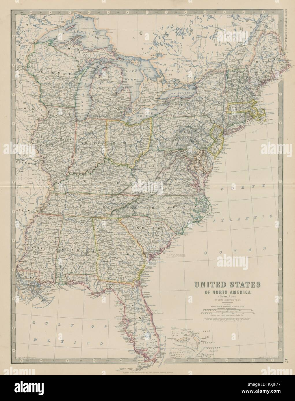 United States of North America (Eastern States). USA. 50x60cm Stock ...
