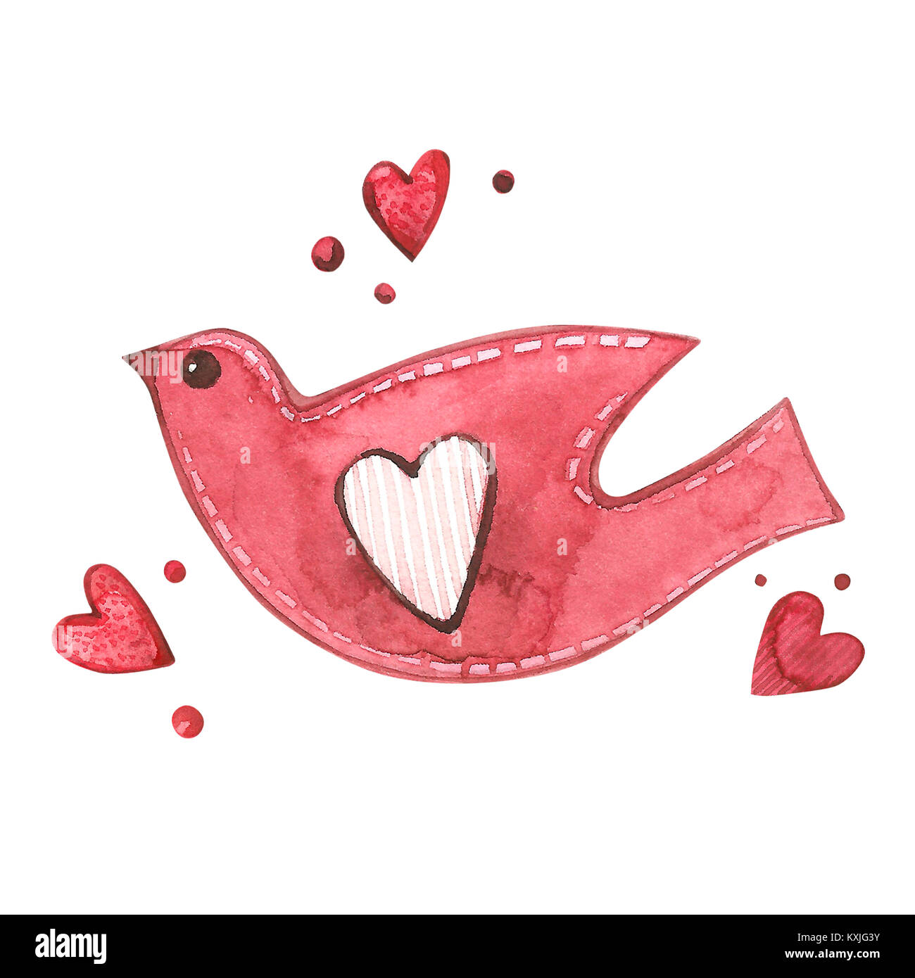 Love Bird with hearts. Watercolor Pink set of elements for Stock ...