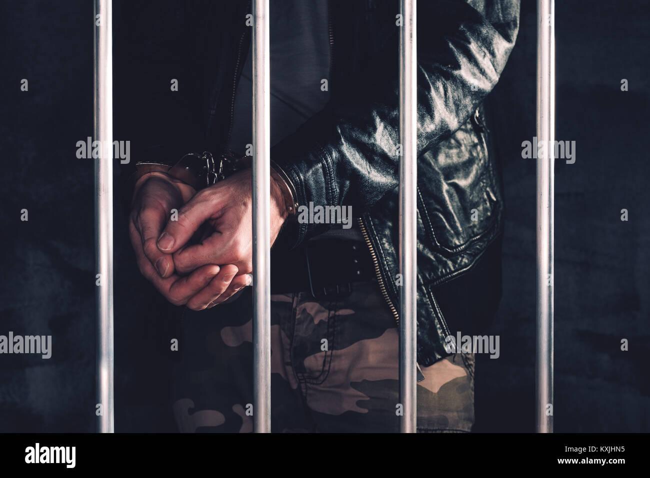 Jail nude men bars behind