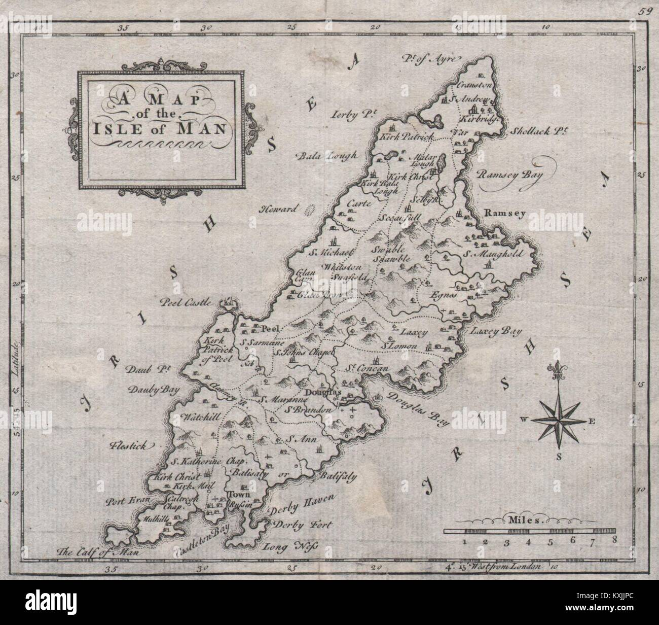 A map of the Isle of Man Antique map by Thomas HUTCHINSON 1748 old