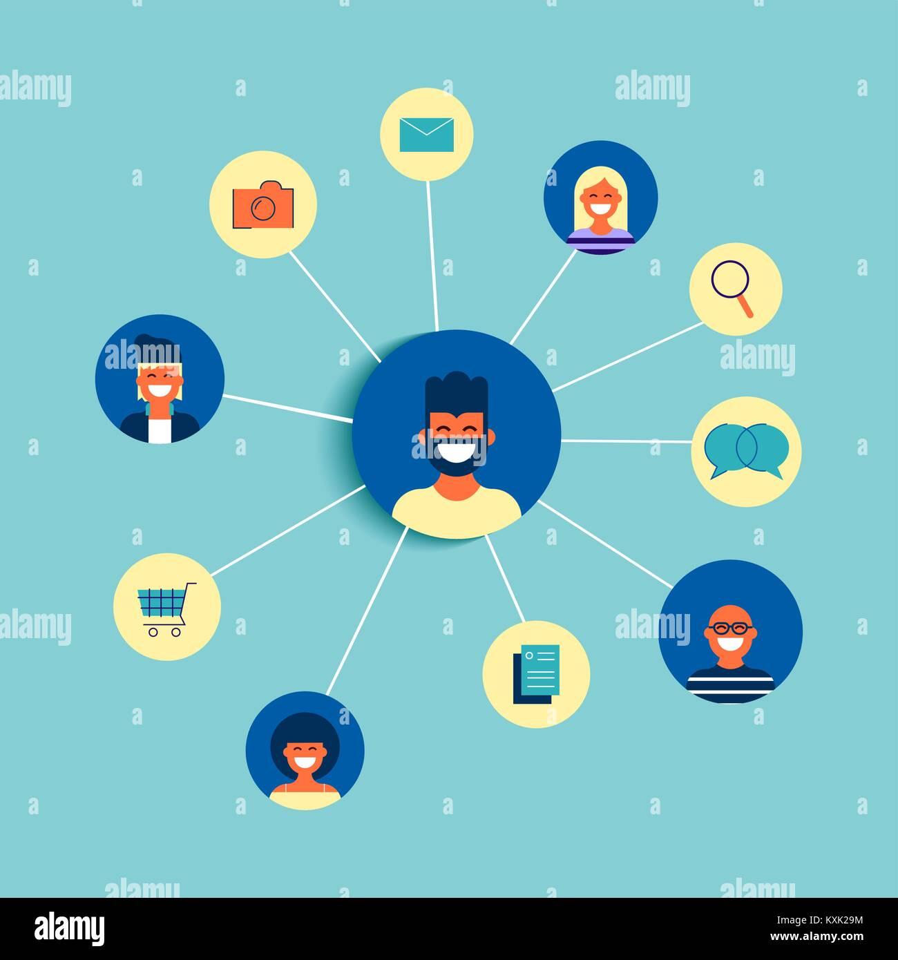 Social network connection concept illustration. Team of diverse ...