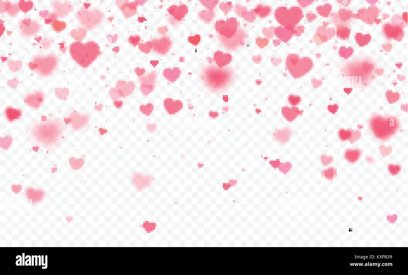 Heart Confetti Falling On Transparent Background Valentines Day