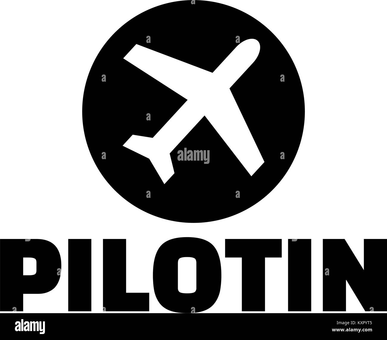 female pilot german word with plane icon stock vector art