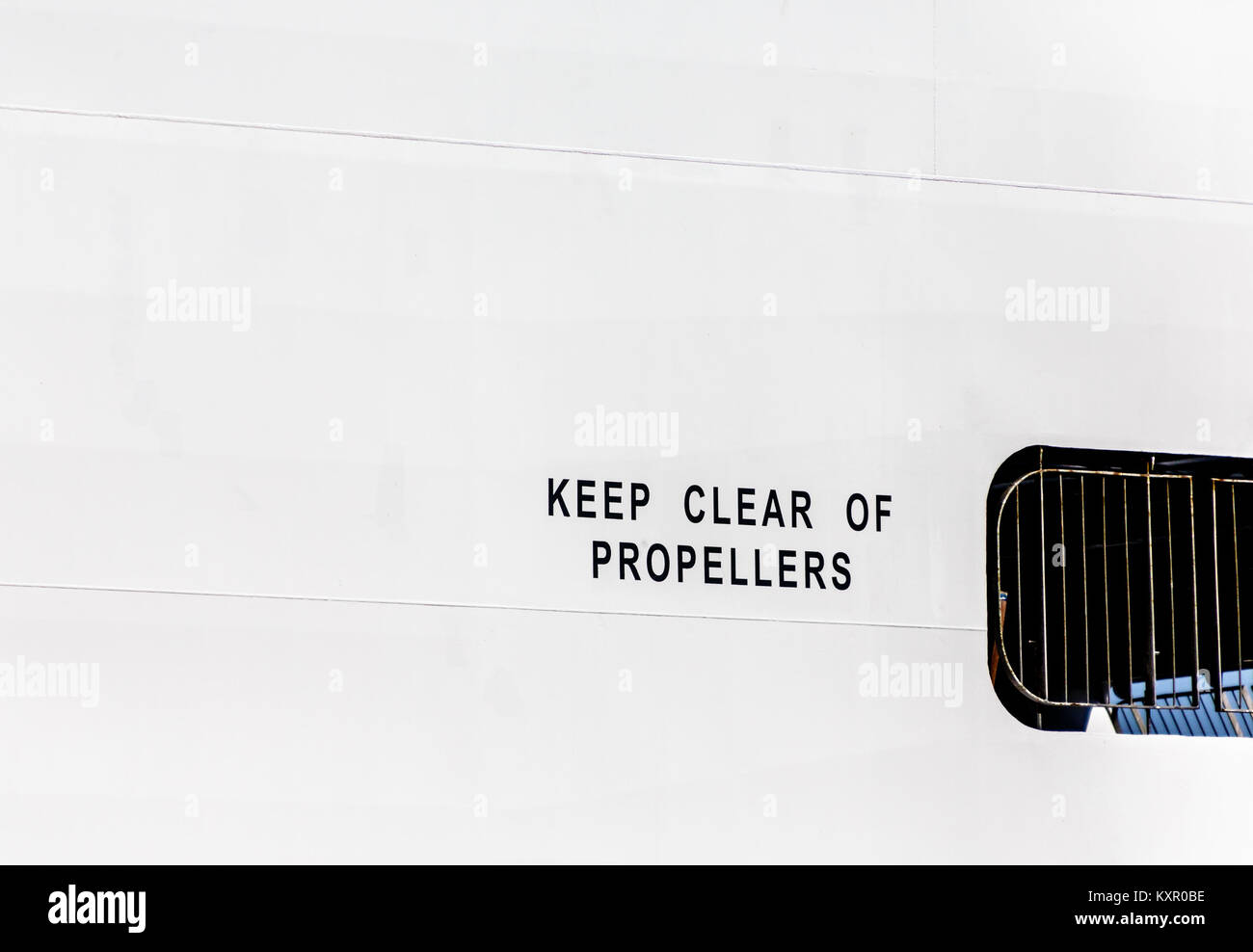 Sign on side of cruise ship keep clear of propellers stock photo sign on side of cruise ship keep clear of propellers pooptronica