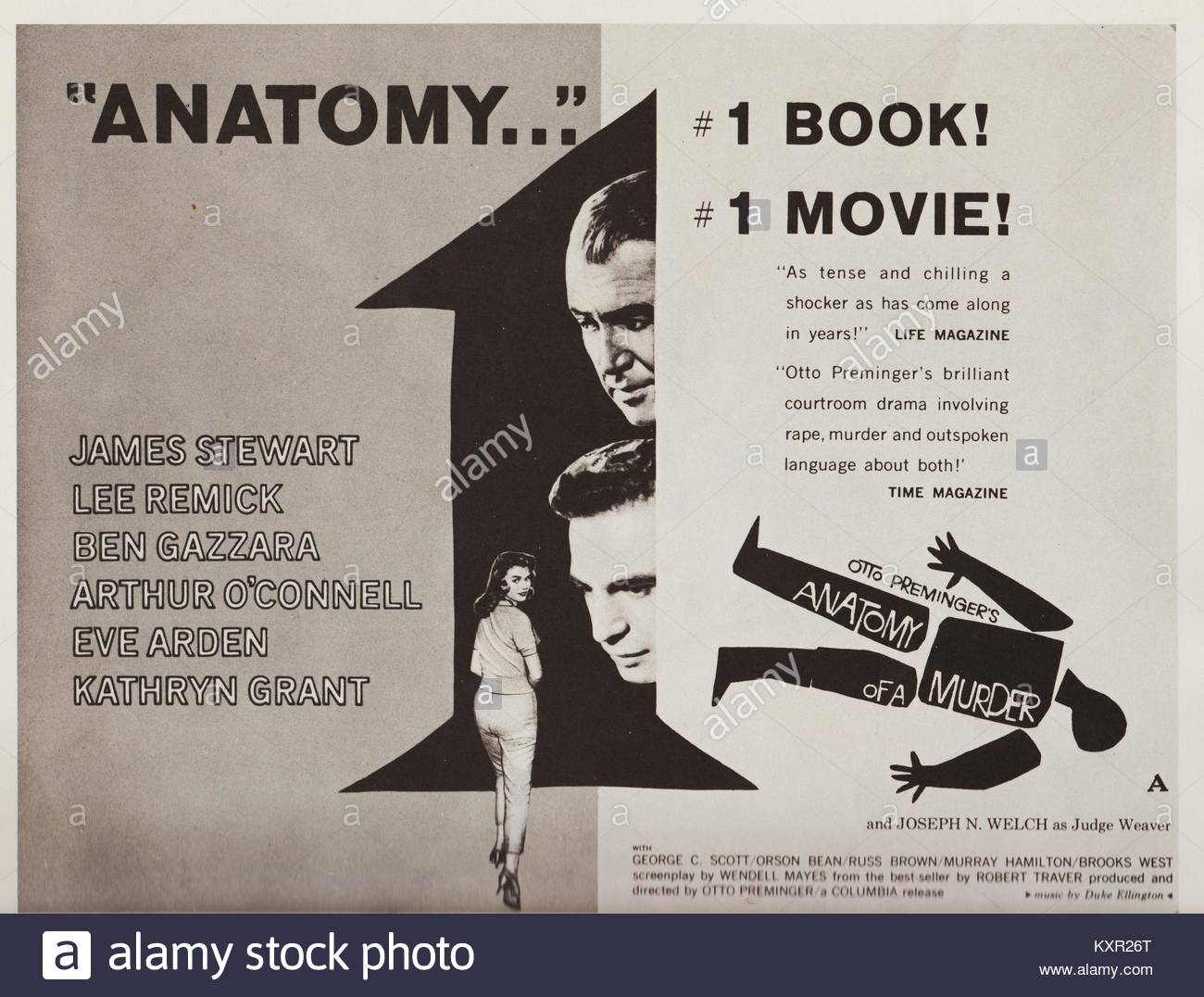 ANATOMY OF A MURDER, 1959 American crime film, courtroom drama Stock ...