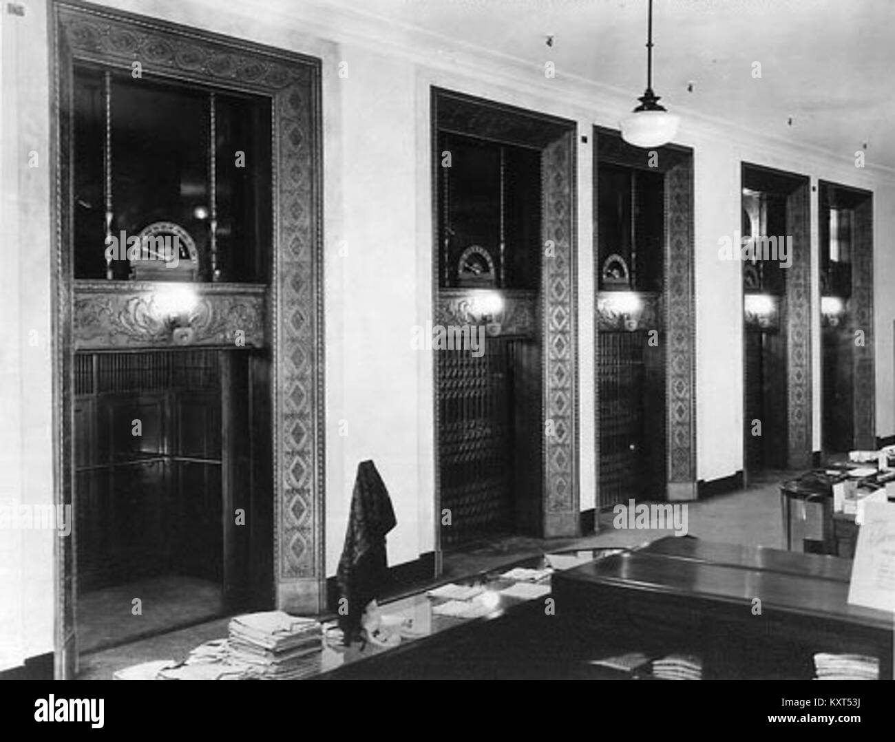 Elevators black and white stock photos images alamy for T s dining virden