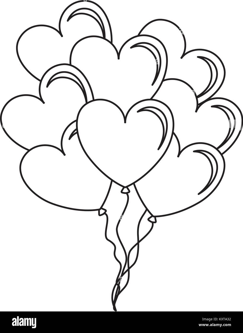 Balloons Air With Heart Shape Stock Vector Art Illustration