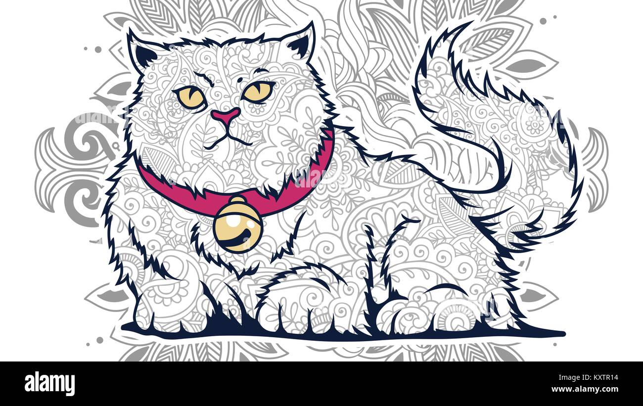 illustration of cat doodle for adult stress release coloring page ...