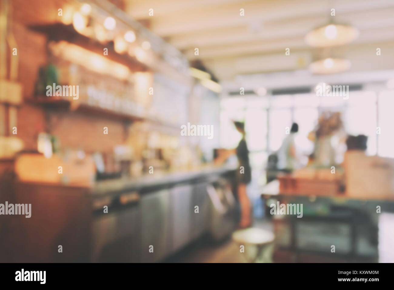 Blur Image Of Coffee Shop Interior Background With Vintage Style