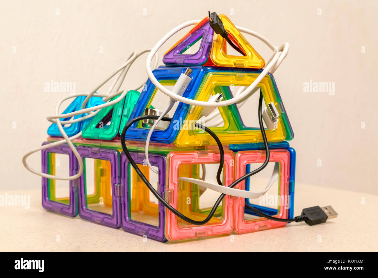 house wires, cables, internet. Digital Home Concept Stock Photo ...