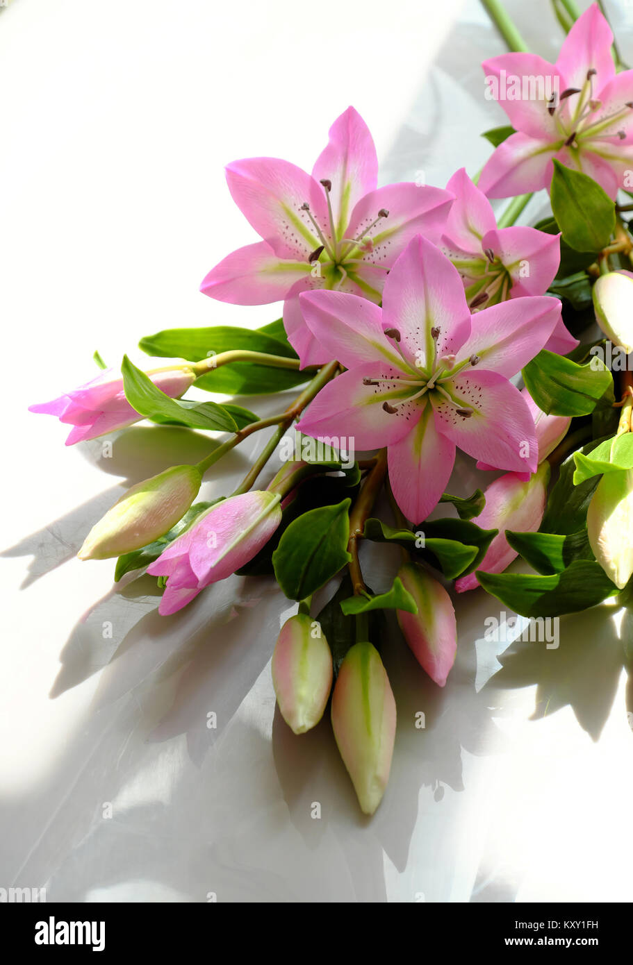 Beautiful Artificial Flower From Clay Art Bunch Of Purple Lily