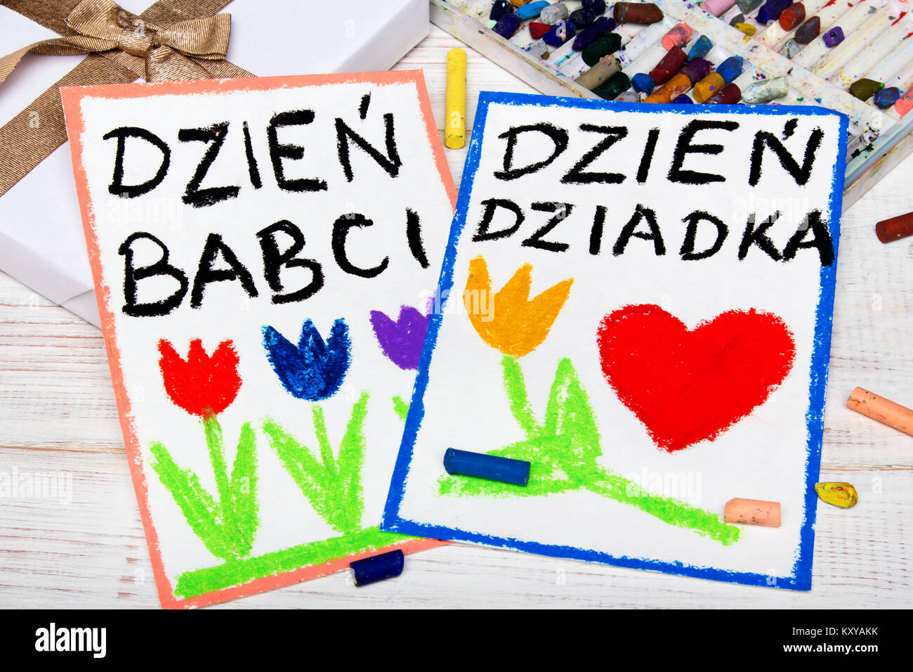 polish grandfather s day and grandmother day card colorful hand