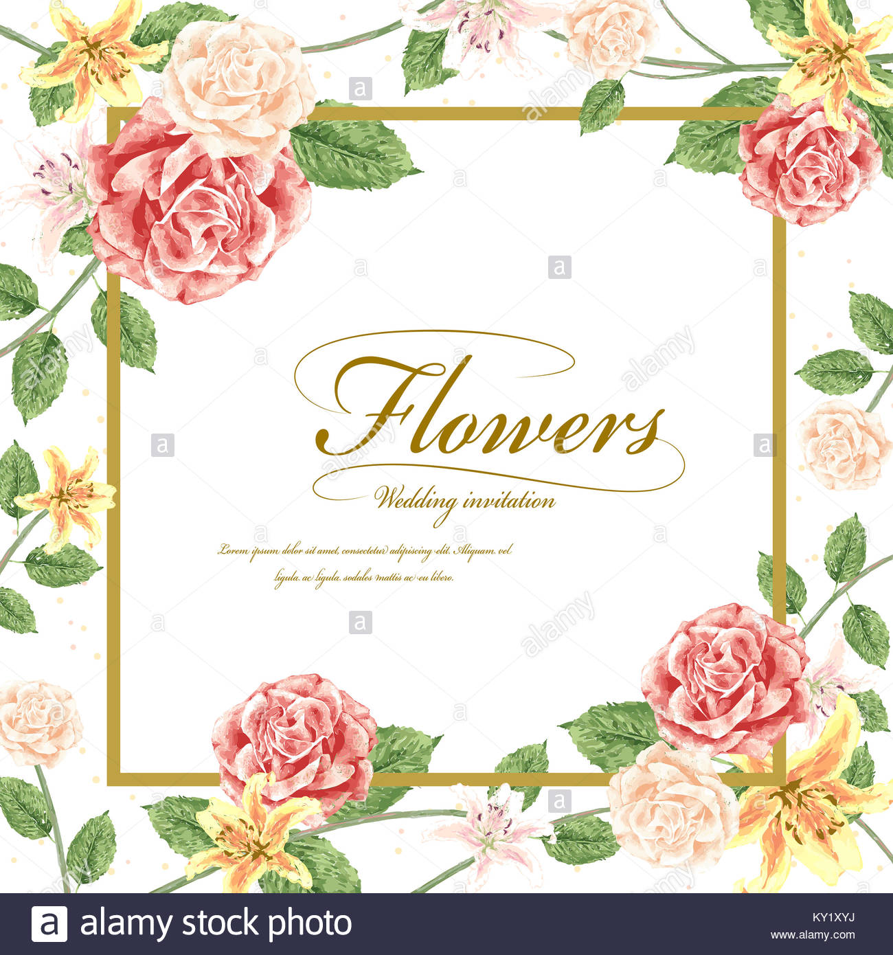 Romantic flowers wedding invitation template design with roses stock romantic flowers wedding invitation template design with roses stopboris Image collections